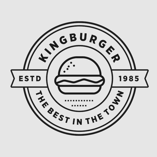 Van het de elementenelement van de hamburger de uitstekende winkel vector het embleemillustratie Premium Vector