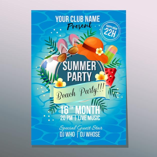 Van het de partijaffiche van de de zomerstrand van het de vakantie de vakantie kleurrijke element vectorillustratie Premium Vector