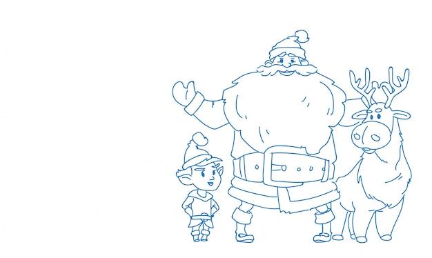 Van het de rendierelf van de kerstman gelukkige nieuwe jaar vrolijke kerstmis Premium Vector