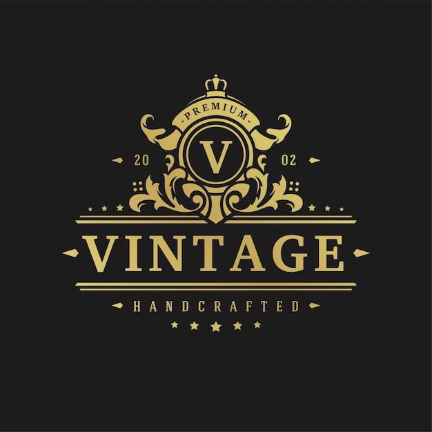 Van het het ontwerpmalplaatje van de luxembleem van de de illustratie victorian vignetten de ornamentenornament. Premium Vector