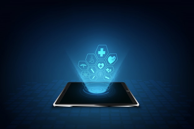 Van het het patroon medisch innovatie van het gezondheidszorgpictogram ontwerpontwerp als achtergrond Premium Vector