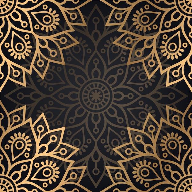 Van het mandala naadloos patroon ontwerp als achtergrond in zwarte en gouden kleur Gratis Vector