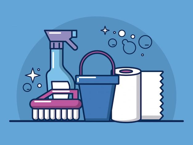 Van huishoudenhulpmiddelen en producten het ontwerp van de pictogrammenillustratie Premium Vector