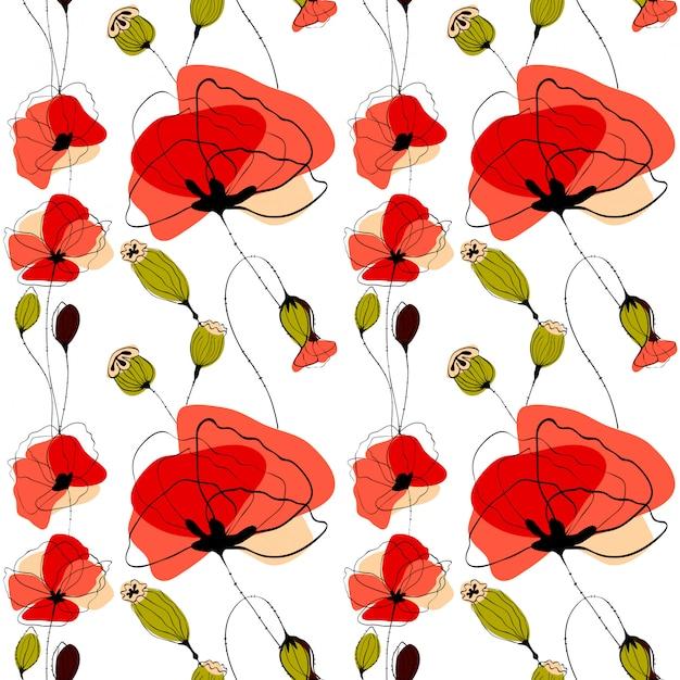 Van papaverbloemen en capsules naadloos patroon Premium Vector