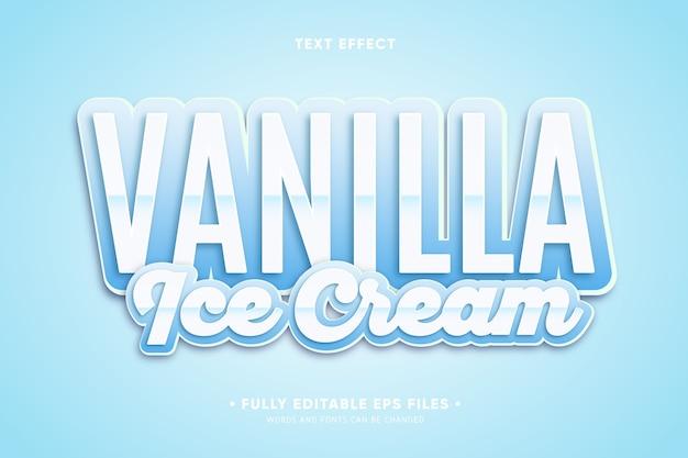 Vanille-ijs tekst effect Gratis Vector