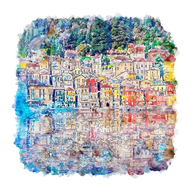 Varenna comomeer italië aquarel schets hand getrokken illustratie Premium Vector
