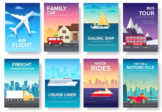 Variaties vervoer van reizen vakantie gids infographic Premium Vector
