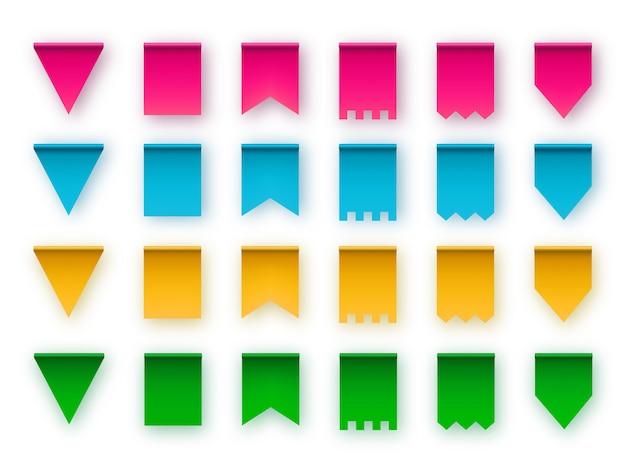 Varios soorten vlaggen voor slingers van slingers. ontwerp elementen. Premium Vector