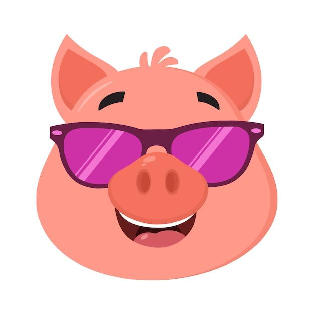 Varken cartoon karakter gezicht met zonnebril Premium Vector