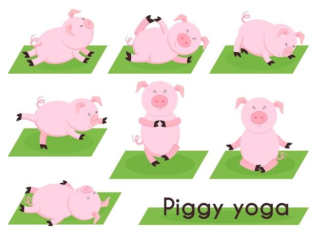 Varken yoga. hartje in verschillende yogahoudingen. dierensport, meditatie biggen, varkenshouderij, houding en beweging, ontspanning en balans, Gratis Vector