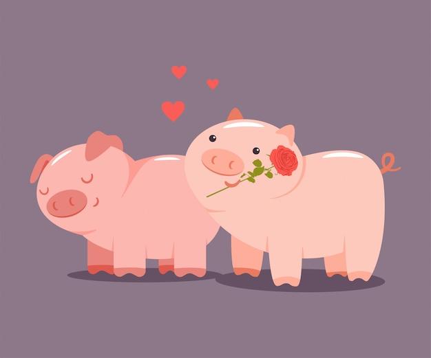Varkens paar met een roos en harten. valentine day vector cartoon schattige dieren karakter geïsoleerd Premium Vector
