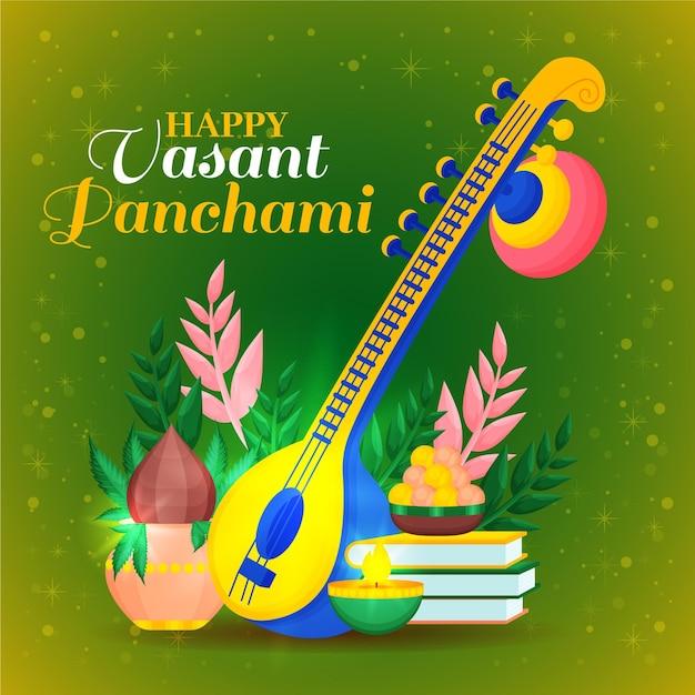 Vasant panchami festival saraswati plat ontwerp Gratis Vector