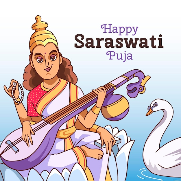 Vasant panchami festival saraswati puja en instrument Gratis Vector