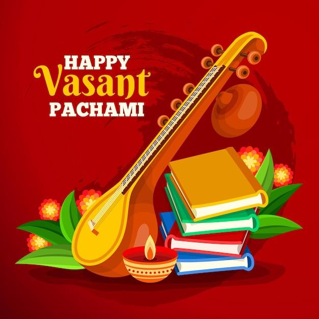 Vasant panchami festivalinstrument en boeken Gratis Vector