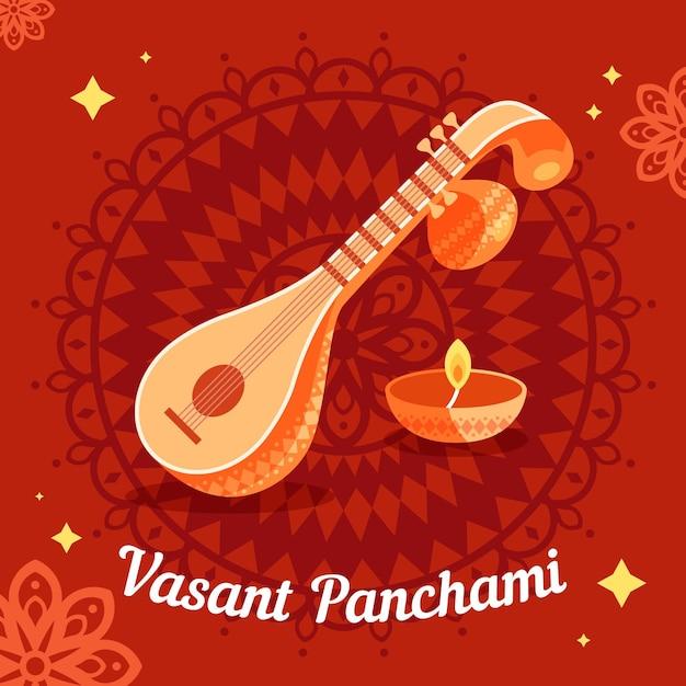 Vasant panchami illustratie met veena instrument Gratis Vector