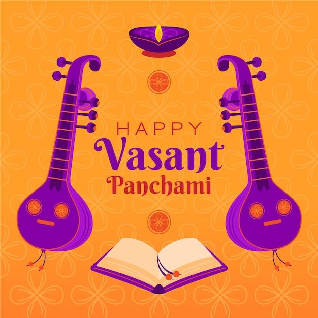 Vasant panchami illustratie met veena Gratis Vector