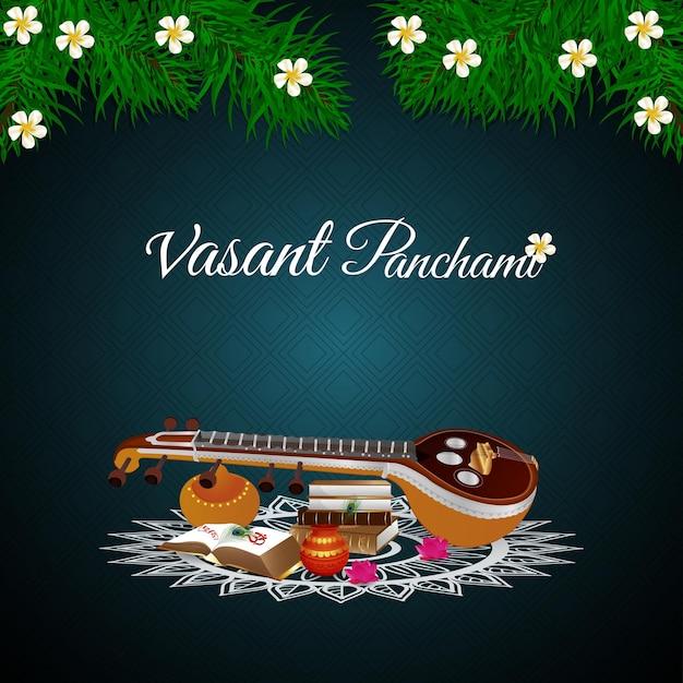 Vasant panchami met saraswati veena en boeken Premium Vector