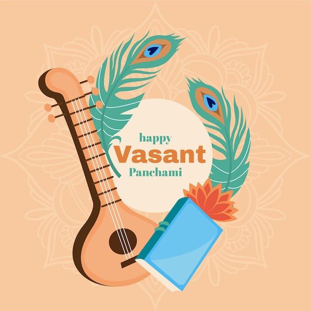 Vasant panchami muziekinstrument en veren Gratis Vector