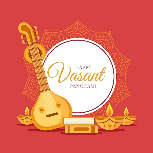 Vasant panchami plat design gitaar en kaarsen Premium Vector