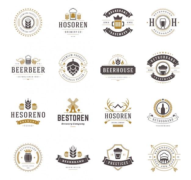 Vastgestelde emblemen van bieremblemen en uitstekende de stijlillustratie van etiketten. Premium Vector