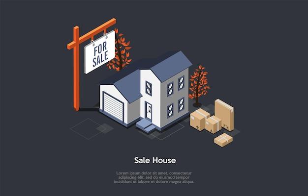 Vastgoedverkoop en het kopen van nieuw huisconcept. Premium Vector