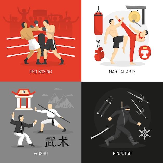 Vechtsporten concept Gratis Vector