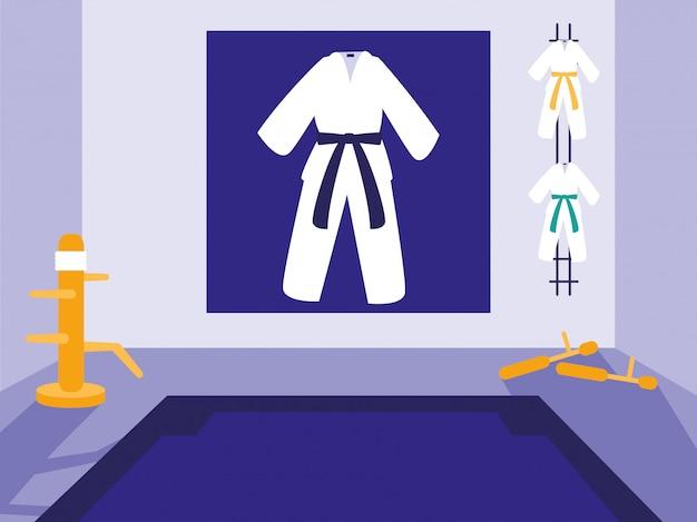 Vechtsporten dojo scene Premium Vector
