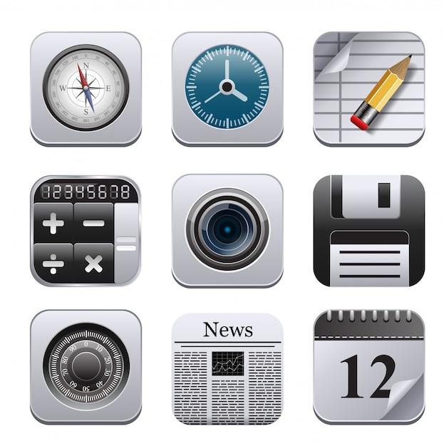Vecotr set met gedetailleerde apps. Premium Vector