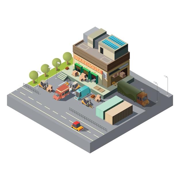 Vector 3d isometrisch pakhuis, vrachtwagens voor verzending Gratis Vector
