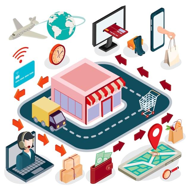 Vector 3d isometrische illustratie concept van e-commerce, online winkel. Gratis Vector