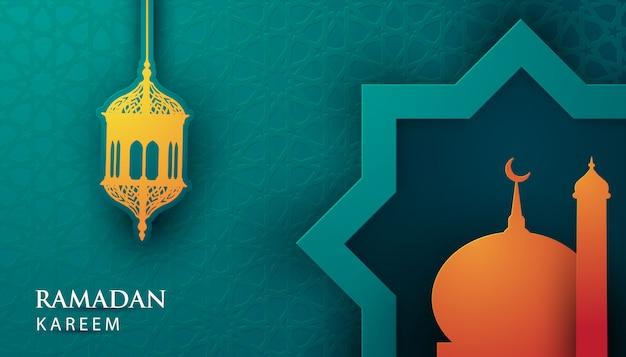 Vector 3d-papier ramadan kareem Premium Vector