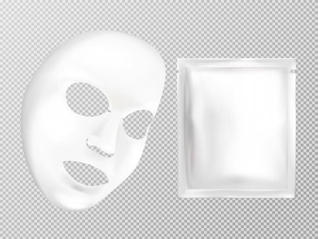 Vector 3d realistisch wit blad gezichts kosmetisch masker en zakje Gratis Vector