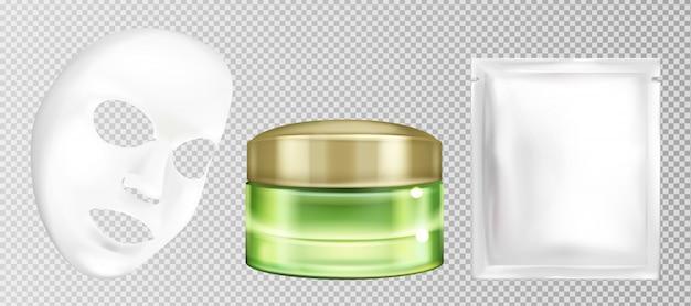 Vector 3d realistisch wit blad gezichts kosmetisch masker met komkommer Gratis Vector
