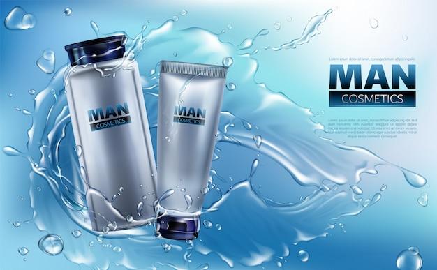 Vector 3d-realistische cosmetica voor mannen in waterspatten. Gratis Vector