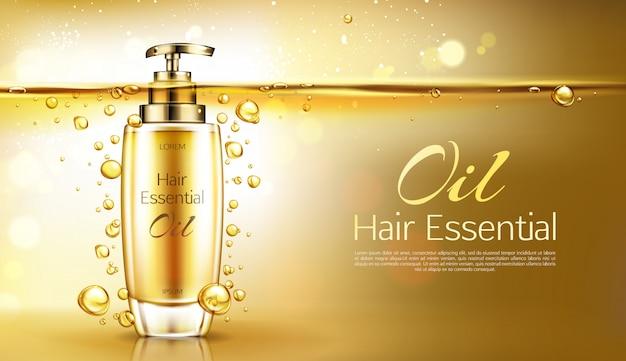 Vector 3d realistische essentie in gouden glazen fles met pomp dispenser. d poster, promo banner Gratis Vector