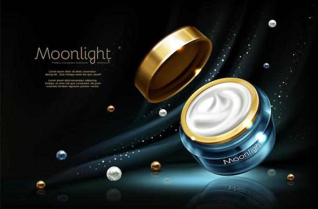 Vector 3d realistische kosmetische reclamespot omhoog - nachtroom in kruik Gratis Vector