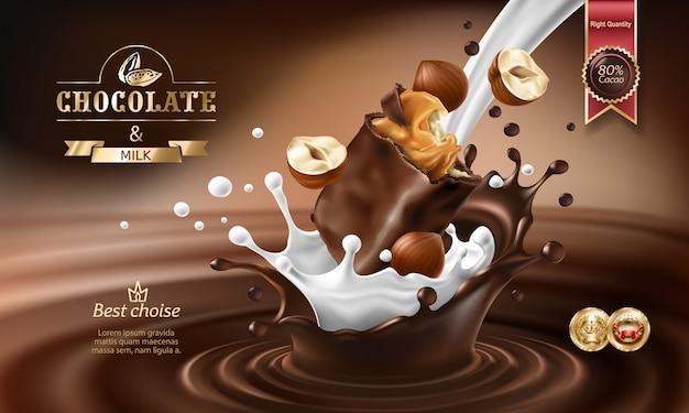 Vector 3d spatten van gesmolten chocolade en melk met vallend stuk chocoladereep. Gratis Vector