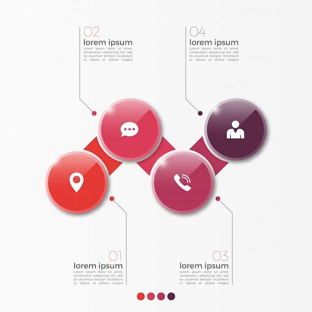 Vector 4 optie infographic sjabloon met cirkels voor presentatie Premium Vector