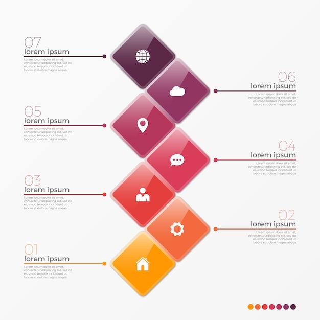 Vector 7 optie infographic sjabloon met vierkanten Premium Vector