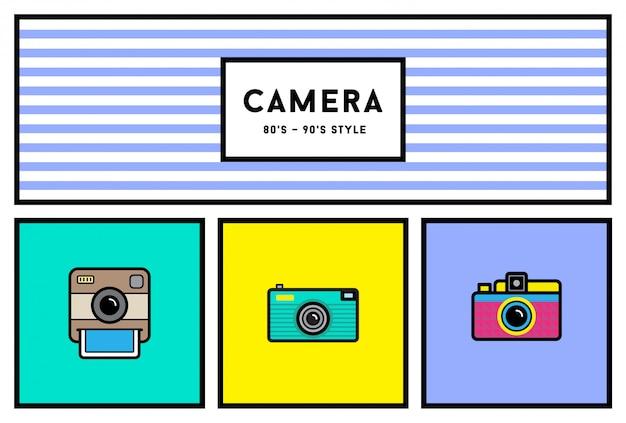 Vector 80's of 90's stijlvolle fotocamera icon set met retro kleuren Premium Vector