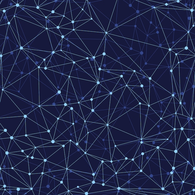 Vector abstract patroon naadloos geometrisch netwerk op een donkere achtergrond Premium Vector