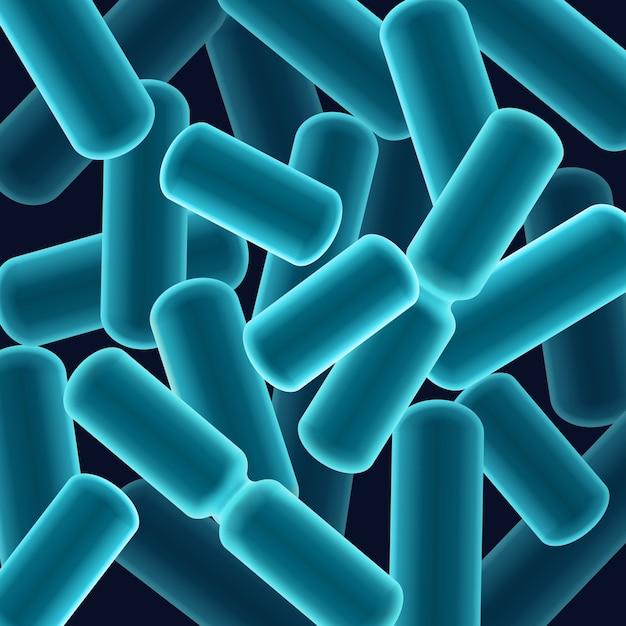 Vector abstracte blauwe staafvormige bacillen bacteriën close-up bovenaanzicht Gratis Vector