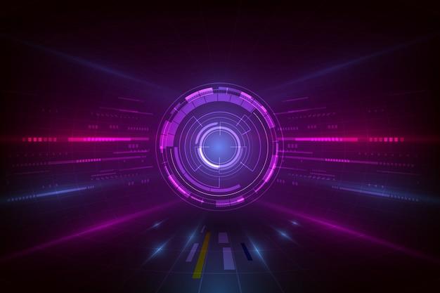 Vector abstracte visualisatieachtergrond, digitale futuristische grafische technologiecomputer Premium Vector