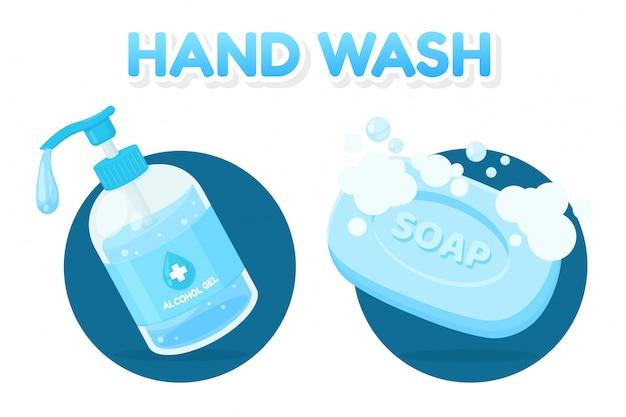Vector alcohol gel en zeepstaaf voor het wassen van handen tegen vuil en coronavirus Premium Vector