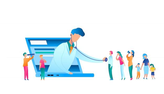 Vector arts onderzoekende patiënt met behulp van stethoscoop Premium Vector
