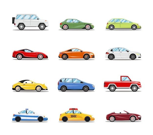 Vector auto's collectie. voertuigen in vlakke stijl Gratis Vector
