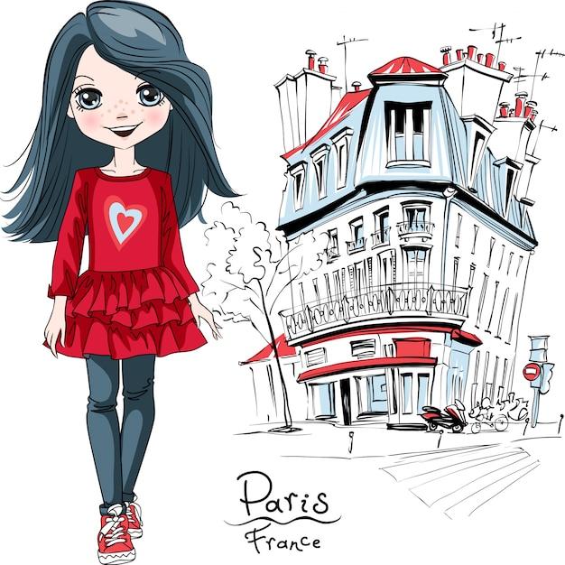 Vector babymeisje in parijs Premium Vector