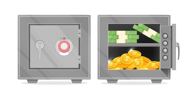 Vector bankkluis met geopende en gesloten deur illustratie met dollarbiljetten, gouden munten geïsoleerd op wit. Premium Vector