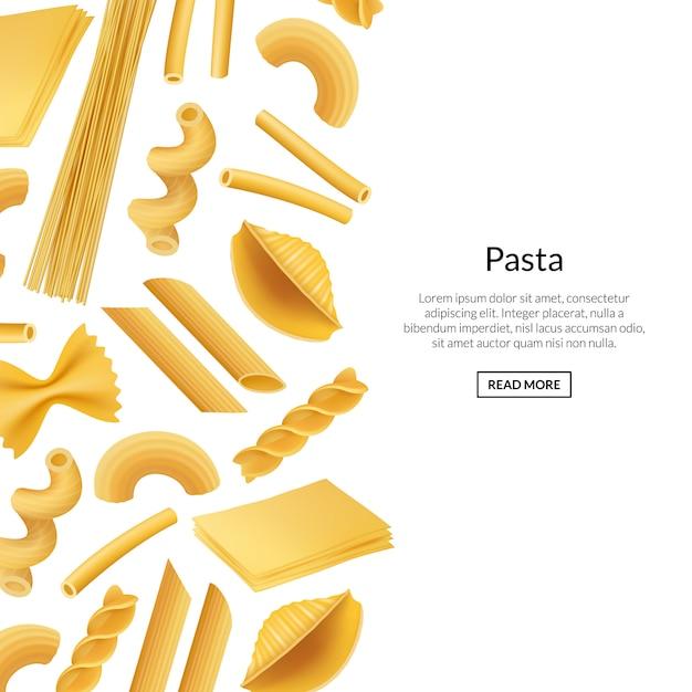 Vector banner realistische pasta soorten banner Premium Vector