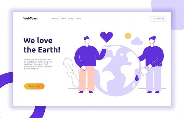 Vector bewaar de planeet webpagina-sjabloon voor spandoekontwerp Premium Vector
